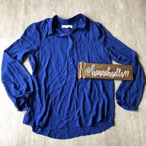 LOFT Blue Button Down Shirt Size Medium